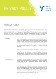 Yarra Valley Water Privacy Policy