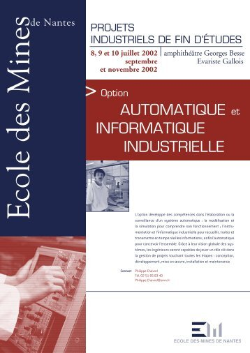 Option automatique et informatique industrielle - Ecole des mines de ...