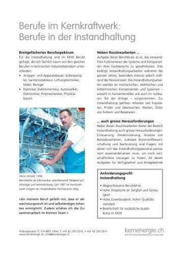 Zustandsorientierte instandhaltung von gas druckregel und for Berufe in der schweiz