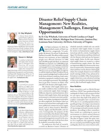 Disaster Relief Supply Chain Management: New Realities ...
