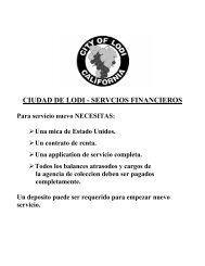 CIUDAD DE LODI - SERVCIOS FINANCIEROS - the City of Lodi