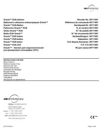 Oracle™ EUS balloon Reorder No. 00711891 ... - US Endoscopy