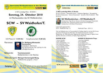 SCW – SV Waidhofen/T. - Sportclub Weißenkirchen in der Wachau