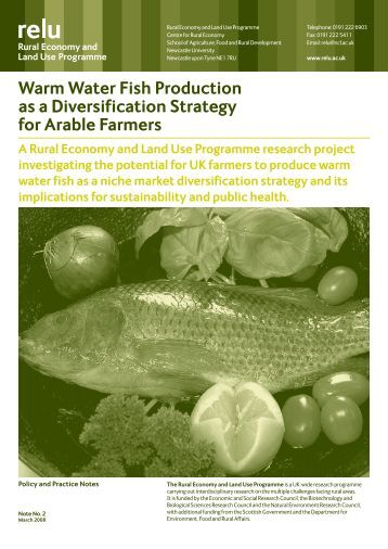 Warm Water Fish Production as a Diversification Strategy for Arable ...