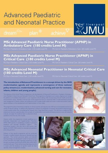Advanced Paediatric and Neonatal Practice - PICS