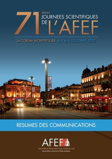 Liste des communications orales et affichées - Afef