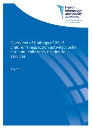 Overview of findings of 2012 children's inspection activity ... - hiqa.ie