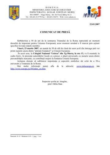COMUNICAT DE PRESĂ - Inspectoratul Şcolar Judeţean Mureş