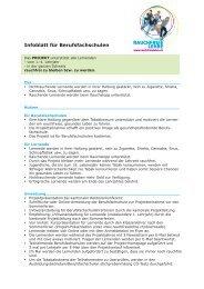 Infoblatt für Berufsfachschulen - Rauchfreie Lehre