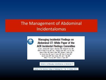 The Management of Abdominal Incidentalomas