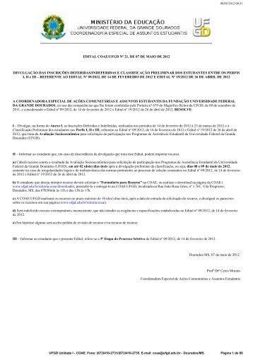 edital coae/ufgd nº 21, de 07 de maio de 2012 divulgação das ...