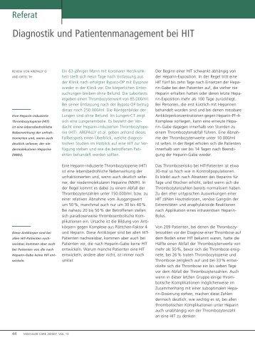 Diagnostik und Patienten management bei HIT - Vascularcare.de