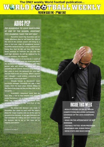 2nd May 2012 - WORLD FOOTBALL WEEKLY