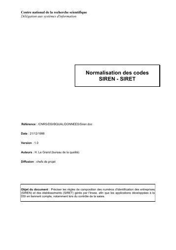 Normalisation des codes SIREN - SIRET