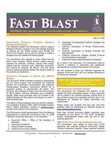 May 12, 2009 CSAC Fast Blast - CSAC California Student Aid ...