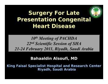 Surgery For Late g y Presentation Congenital Heart Disease - Sha ...