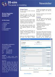 20-sim Newsletter October 2005 Number 24 In this issue