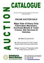 ONLINE AUCTION SALE Major Sale of Heavy Duty Fabrication ...