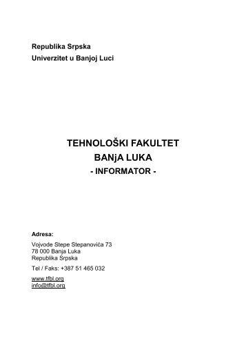 infоrmatоr - Tehnoloski fakultet Banja Luka