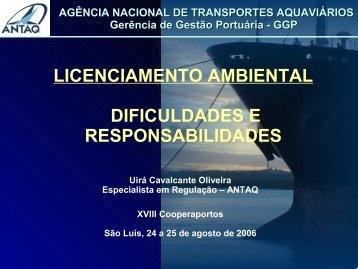 licenciamento ambiental dificuldades e responsabilidades - Antaq