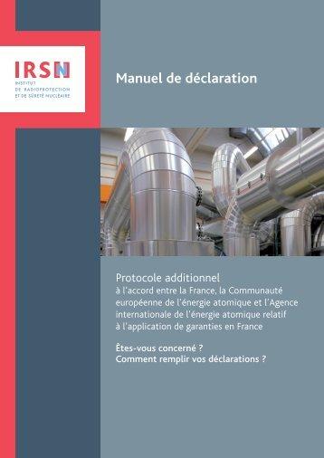 Manuel de déclaration - Non prolifération - IRSN