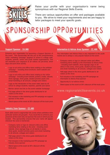 to download the sponsorship opportunities - Skills West Midlands