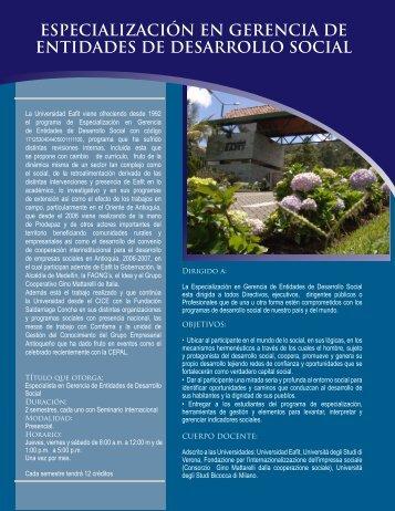 Gerencia de Entidades para el Desarrollo Social - Universidad EAFIT