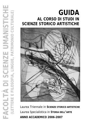 Guida al corso di studi - Facoltà di Scienze Umanistiche - Sapienza