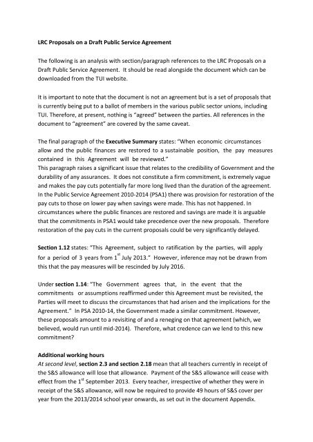 Lrc Proposals On A Draft Public Service Agreement The Tui