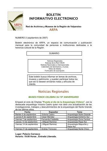boletin informativo electronico numero 2 (pdf) - ARPA - Pontificia ...