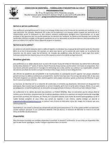 FORMULAIRE D'INSCRIPTION AU VOLET PROGRAMMATION ...