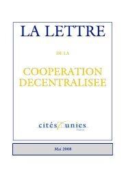 La Lettre de mai 2008 - Cités Unies France