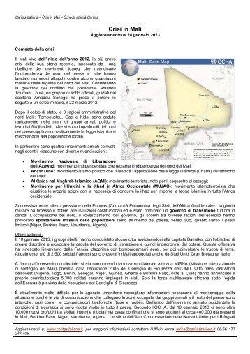 Scheda Aggiornamento Mali gennaio 2013 - Caritas