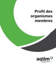 Profil des organismes membres - aqtim