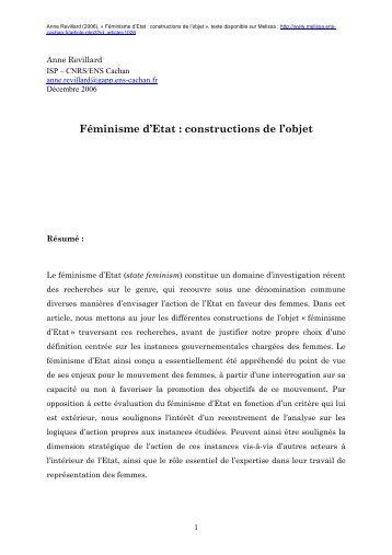 Féminisme d'Etat : constructions de l'objet - Melissa - ENS Cachan