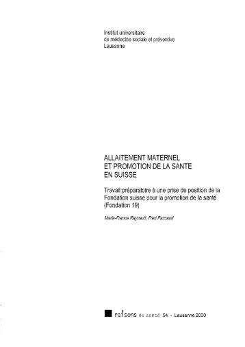 allaitement maternel et promotion de la sante en suisse - IUMSP