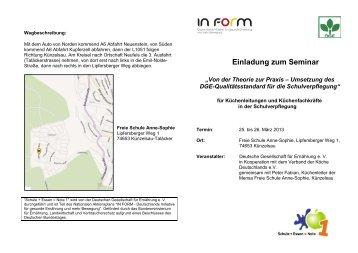 Einladung zum Seminar - Schule + Essen = Note 1