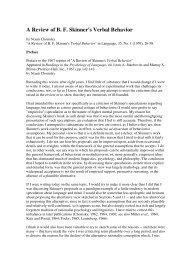 A Review of B. F. Skinner's Verbal Behavior - Biolinguagem
