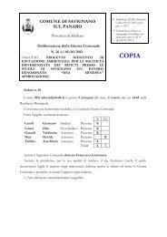 deliberazione della giunta comunale - Comune di Savignano sul ...
