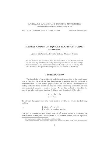 Applicable Analysis and Discrete Mathematics HENSEL CODES OF ...