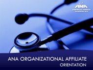 Organizational Affiliate Orientation - American Nurses Association