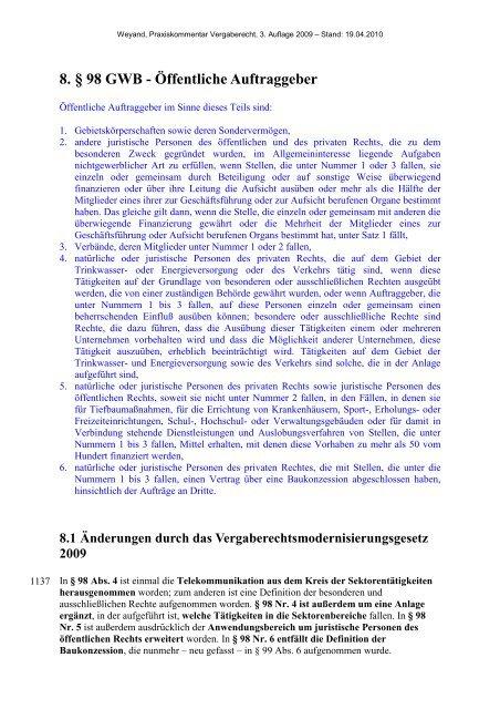 8. § 98 GWB - Öffentliche Auftraggeber - Oeffentliche Auftraege