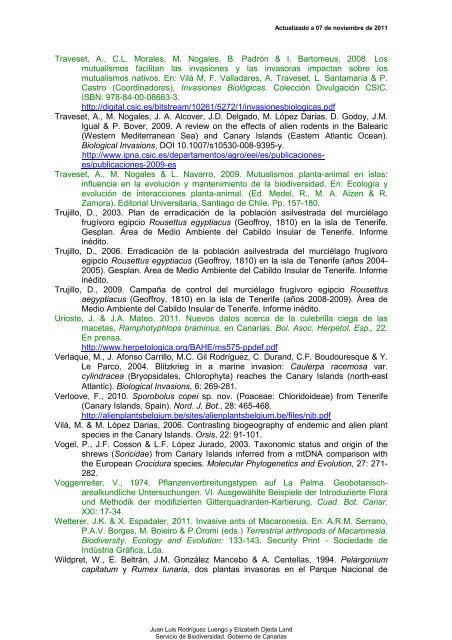 Bibliografía sobre especies introducidas en ... - Interreg Bionatura
