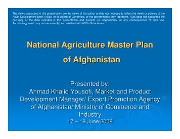 National Agriculture Master Plan of Afghanistan - CAREC