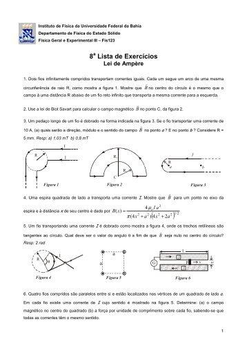 8 a Lista - Instituto de Física da UFBA - Universidade Federal da Bahia