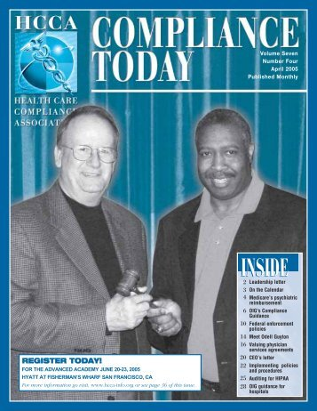 INSIDE INSIDE - Health Care Compliance Association