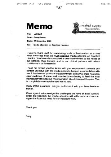 memo examples to staff