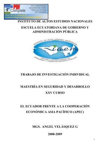 instituto de altos estudios nacionales escuela ecuatoriana de ...