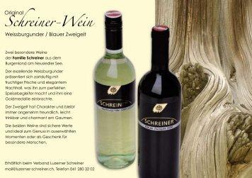 Flyer Schreiner-Wein - beim Verband der Luzerner Schreiner