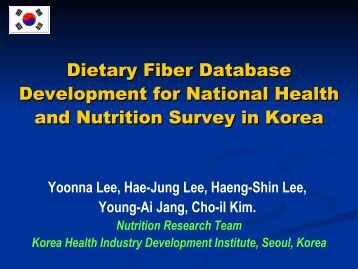 Dietary Fiber Database Development for National Health and ...